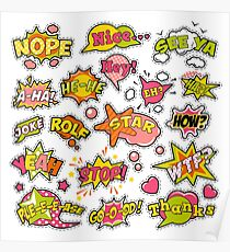 Fashion Badges, Patches, Stickers in Pop Art Comic Speech Bubbles Set with Halftone Dotted Cool Shapes. Vector Retro Background Poster