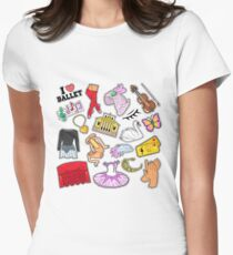 Ballet Stickers, Badges, Patches Set with Theater Elements. Vector Doodle T-Shirt