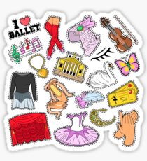 Ballet Stickers, Badges, Patches Set with Theater Elements. Vector Doodle Sticker