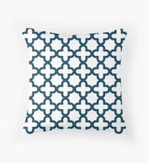 Cojín Azul marino y blanco, patrón de Quatrefoil