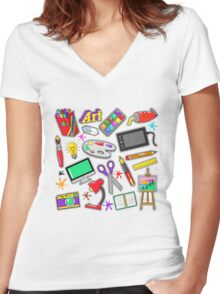 Art Creativity Badges, Stickers, Patches with Paints and Design Tools. Vector Doodle Women's Fitted V-Neck T-Shirt