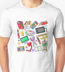 Art Creativity Badges, Stickers, Patches with Paints and Design Tools. Vector Doodle T-Shirt