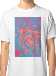 Painting of beautiful girl on a background of flowers  Classic T-Shirt