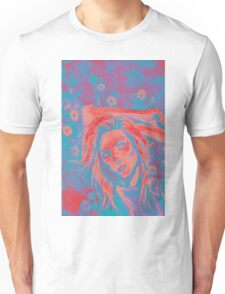 Painting of beautiful girl on a background of flowers  Unisex T-Shirt