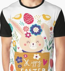 Bunny In A Basket Easter  Graphic T-Shirt