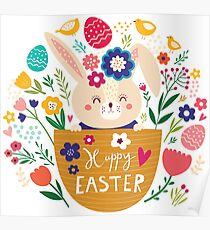 Bunny In A Basket Easter  Poster