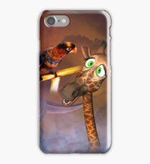 Funny cute giraffe with parrot iPhone Case/Skin