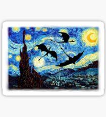 dragones en una noche estrellada Sticker
