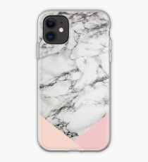 Weißes Marmormuster mit rosa Dreiecken iPhone-Hülle & Cover