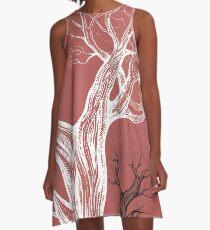 Oak, natural, background, design, illustration, tree A-Line Dress