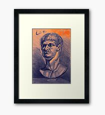 Drawing portrait of male ancient figure Framed Print