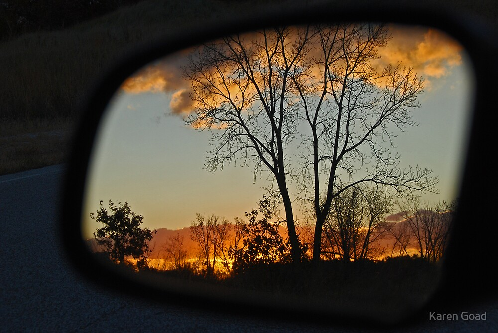 Autumn Colors thru the Rear View Mirror II by Karen Goad