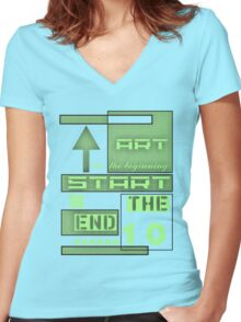 Green art in the beginning Women's Fitted V-Neck T-Shirt