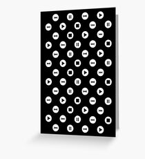 Tiny Music Player Icons Polka Dots (White on Black) Greeting Card