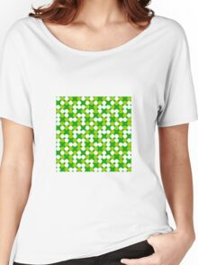 green background white circles pattern Women's Relaxed Fit T-Shirt