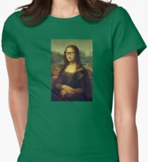 Funny Hipster Glasses Mona Lisa Famous Painting Cool Artist Art Print Womens Fitted T-Shirt