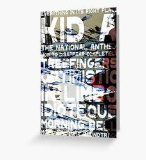 Radiohead - Kid A Album Song List Design #1 Greeting Card