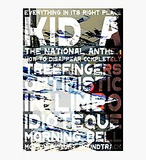 Radiohead - Kid A Album Song List Design #1 Photographic Print