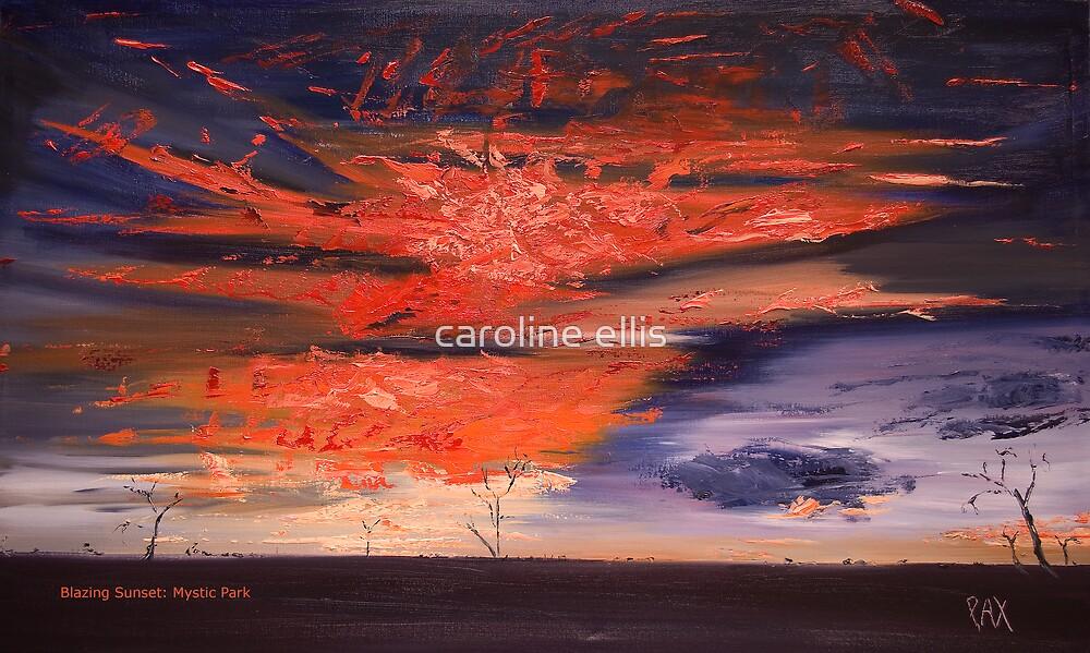 Oil Mystic Park: Blazing Sunset by caroline ellis