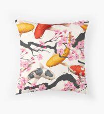 Koi Carp with Sakura Plant Throw Pillow