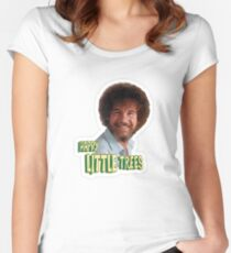 Bob Ross No Mistake Just Happy Little Trees Painter Design Women's Fitted Scoop T-Shirt