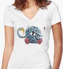 Pokemon pizza party- Tangela Women's Fitted V-Neck T-Shirt