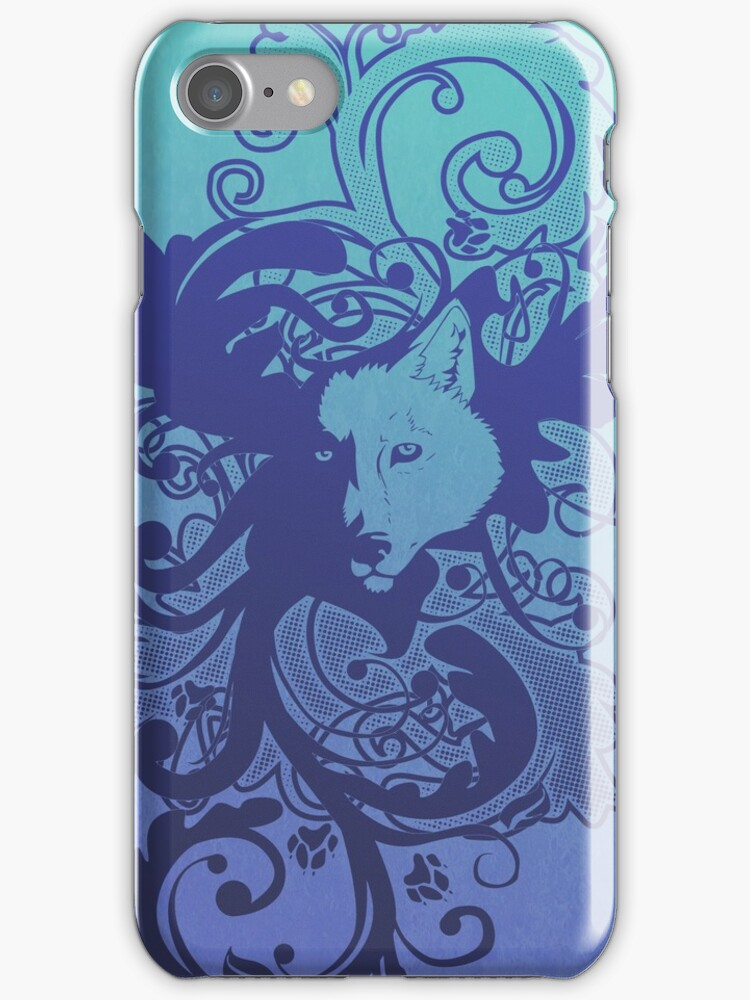 Wolf Floral in Blue by Zhivago