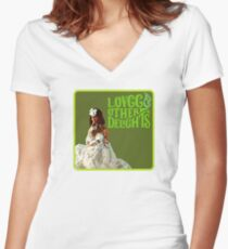 LOVCC & Other Delights Women's Fitted V-Neck T-Shirt