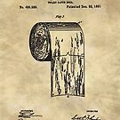 Antique toilet paper roll beige blueprint patent illustration  by Glimmersmith