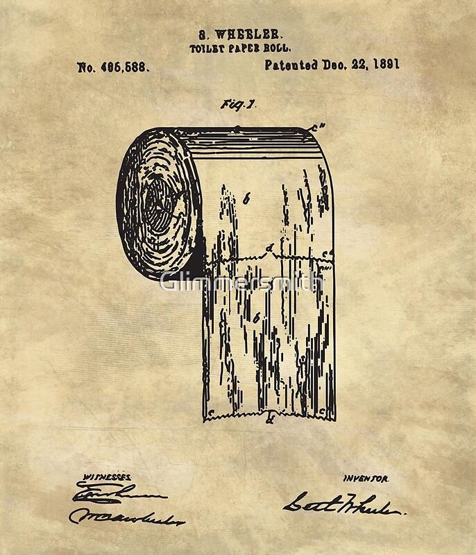 Antique toilet paper roll beige blueprint patent illustration ...