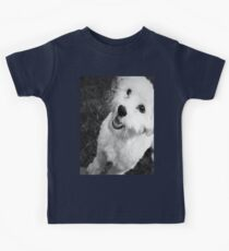 A Puppy Saying Hello Black and White Kids Tee