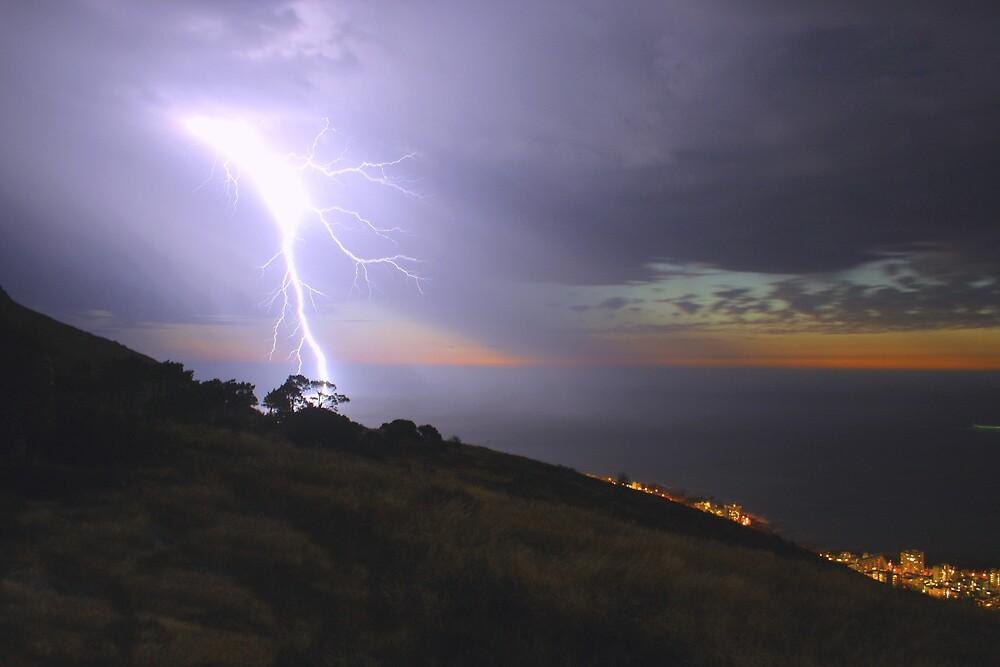 Lightning over the sea by Johann  Koch