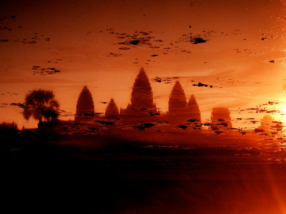 Sunrise over Angkor Pond by Gwynjohn