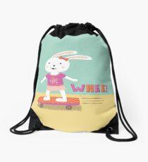 Girl Bunny on a Board Drawstring Bag