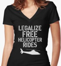 Free Helicopter Rides Women's Fitted V-Neck T-Shirt