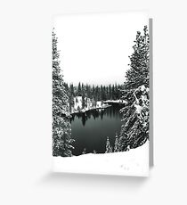 A Snowy Lake in Black and White Greeting Card