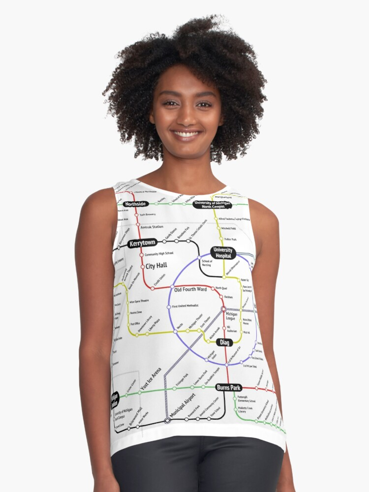 Ann Arbor Subway Map Contrast Tank Front