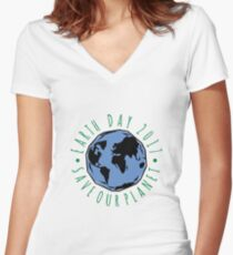 Save Our Planet Earth 2017 Women's Fitted V-Neck T-Shirt