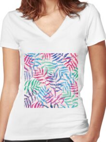 Watercolor Tropical Palm Leaves Women's Fitted V-Neck T-Shirt