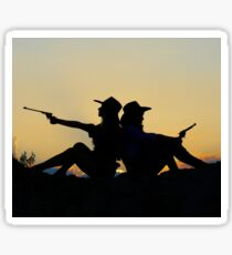 Cowgirls with Guns at Sunset Sticker