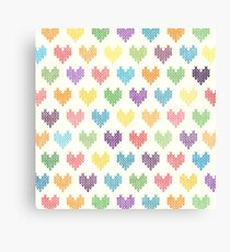 Colorful Knitted Hearts Canvas Print