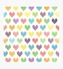 Colorful Knitted Hearts Photographic Print