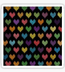Colorful Knitted Hearts II Sticker