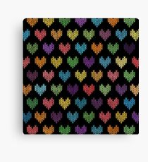 Colorful Knitted Hearts II Canvas Print