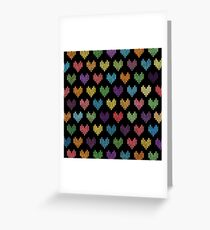 Colorful Knitted Hearts II Greeting Card