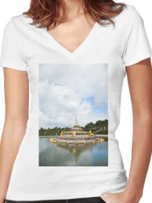 Crow Perched On Statue In Versailles Women's Fitted V-Neck T-Shirt
