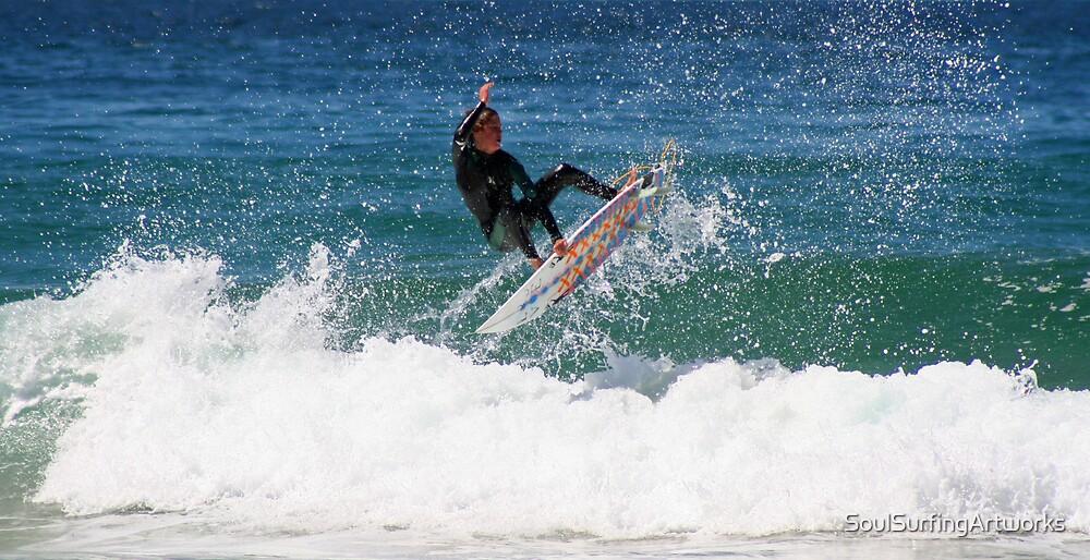 Aerial Avoca Surfer by SoulSurfingArtworks
