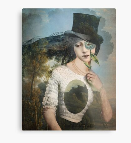 Portrait 11 with Hat Metal Print