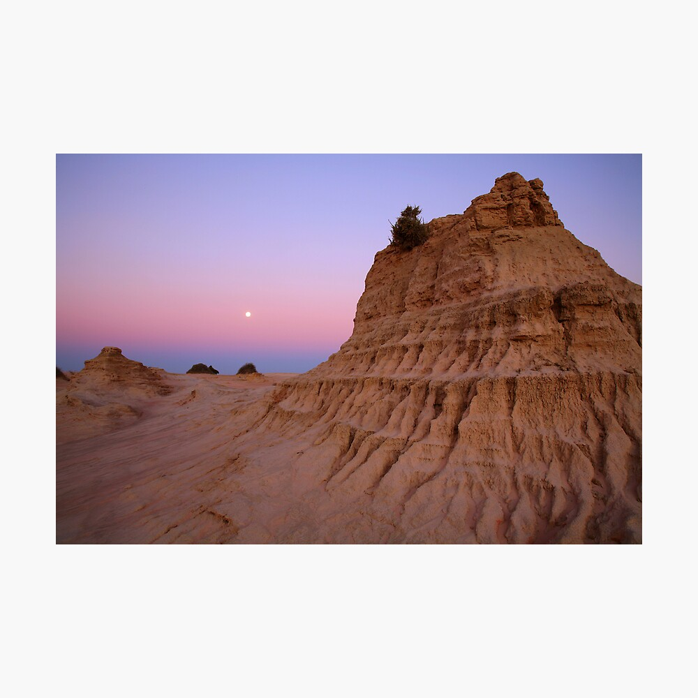 "Moonrise over the ""Walls Of China"", Mungo National Park, Australia Photographic Print"