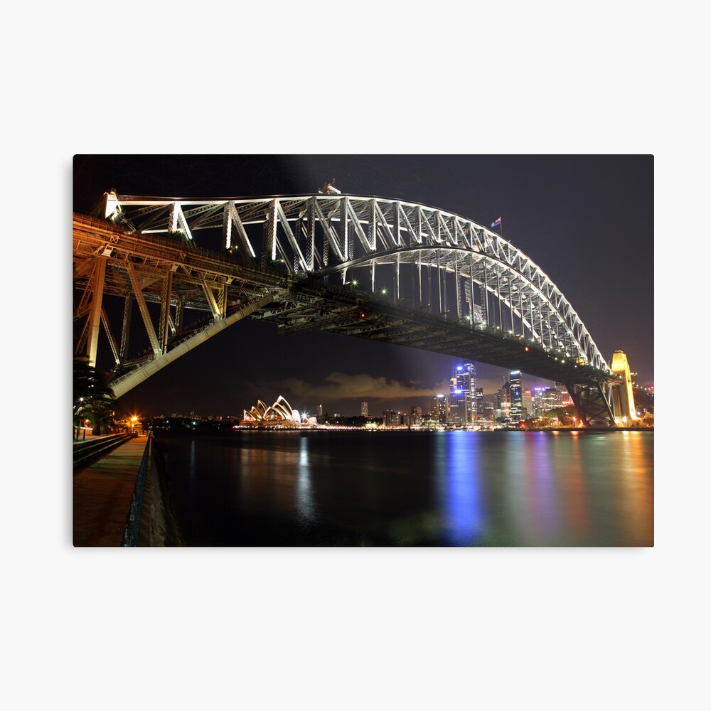 Sydney Harbour Bridge at Night, Australia Metal Print